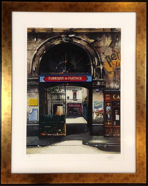 Framed Thomas Pradzynski - Fabrique de Faience (35x29 framed serigraph on paper)