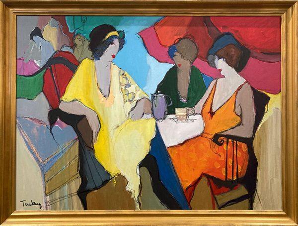 framed Tarkay painting of women having tea