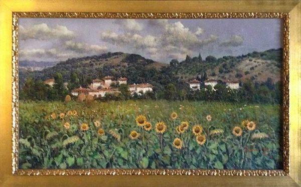 Antonio Sannino framed painting of a Tuscan Sunflower Field
