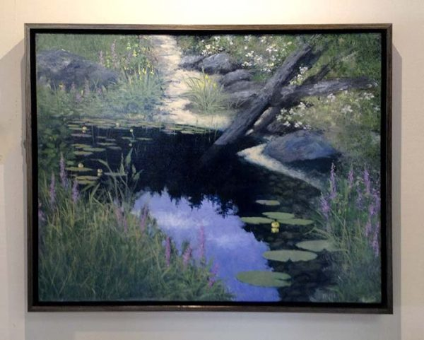 George Marks framed painting of small pond with branch