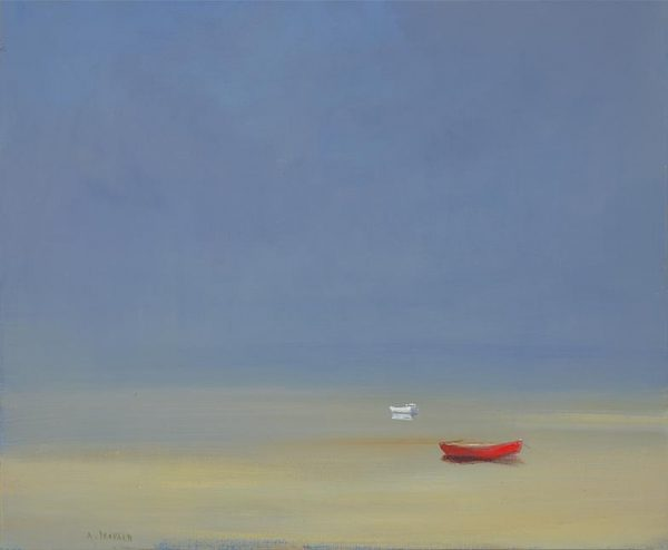 Anne Packard Giclee print A Pair on Canvas of Two Boats on Beach