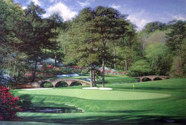 Larry Dyke - 11th At Augusta print of golf course with bridges