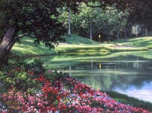 Larry Dyke - 12th at Muirfield print of golf course with flowers and water feature