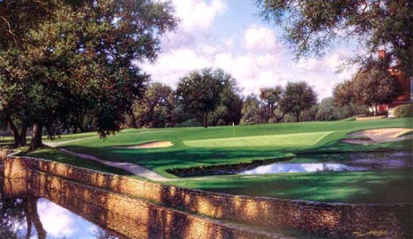 Larry Dyke - 16th at Colonial print of golf course with sand trap and building hidden by trees
