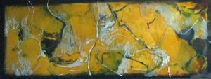 Jeff Ringdahl - Yellow Abstract - Abstract resin painting with yellow and white lines