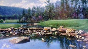 Larry Dyke - 17th at Shoal Creek print of golf course with ponds and rocks