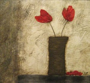 Sarah Rosen - 2 Poppies - Encaustic painting of two poppies in a vase