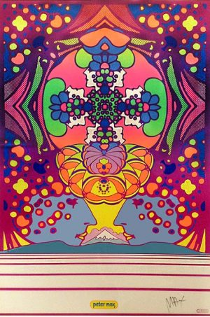 Peter Max Poster 2000 Light Years colorful pop art with faces and a mountain