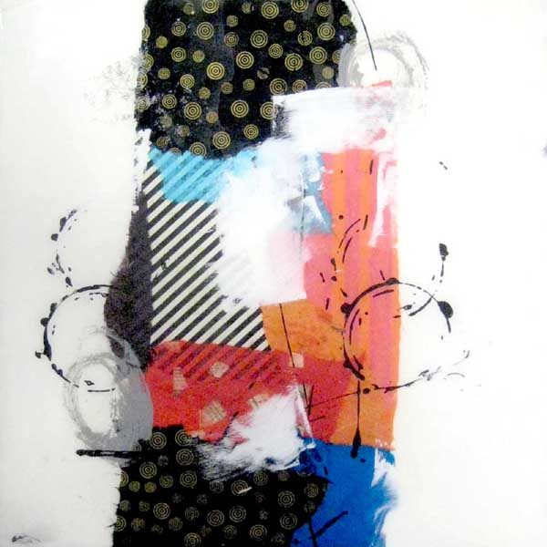 Paul Tiersky Abstract Mixed Media Collage on Board