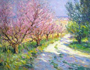 Omar Hamdi Malva Painting of Pink Cherry Blossom Trees and Path