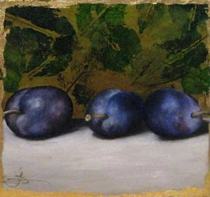 Jeanette Staley - 3 Plums - A Realistic painting of 3 plums on a table