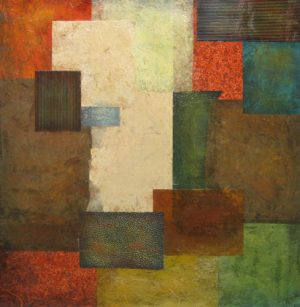 Abstract geometric collage with various neutral colors