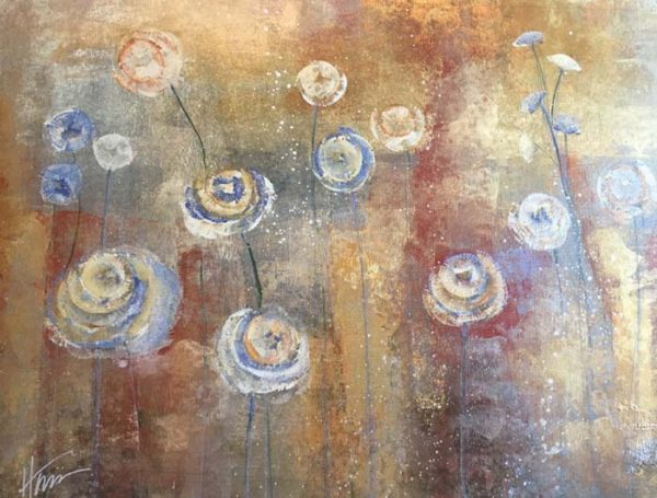 Maeve Harris Contemporary Oil Painting of Floral Abstract on Canvas
