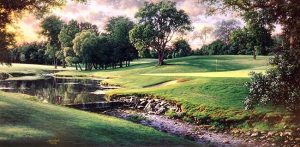 Larry Dyke - 3rd at Muirfield print of golf course with river at dusk or dawn