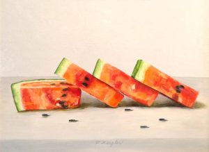 Patti Zeigler Oil Painting of Red and Green Watermelon Slices on Table