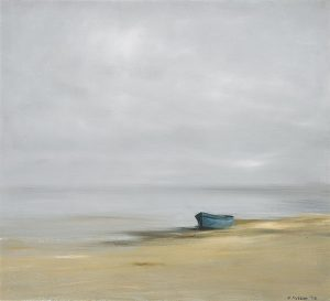 Anne Packard Blue Dory Giclee on Canvas of Blue Row Boat and Gray Sky