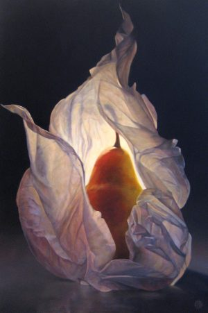 Lorena Pugh Surreal Painting of Pear Wrapped in Tissue Paper