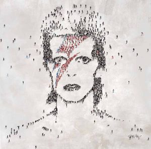 Craig Alan Surreal Oil Painting of David Bowie Icon Composed of Little People