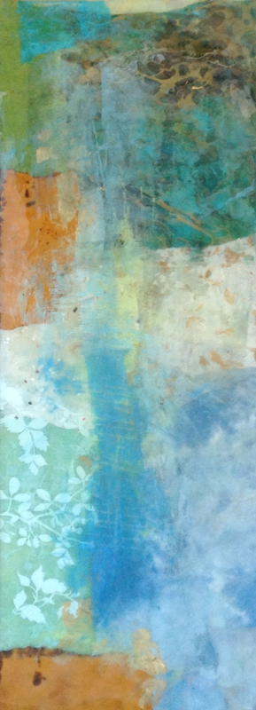 Paul Tiersky Abstract Resin Collage on Board with Teal Aqua Blue and Orange