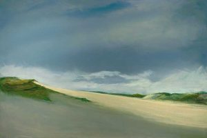 Anne Packard Dunes Giclee print on Canvas of Dark Blue Sky with Dunes and Grass