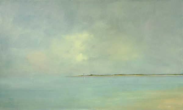Anne Packard Cape Light Giclee on Canvas of Blue Foggy Ocean Shore with Clouds