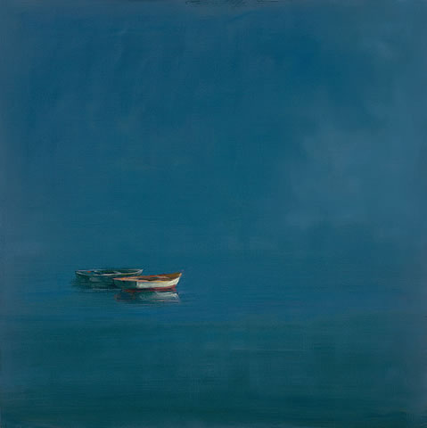 Anne Packard Two Dories Giclee on Canvas of Two Boats on Still Water in Evening