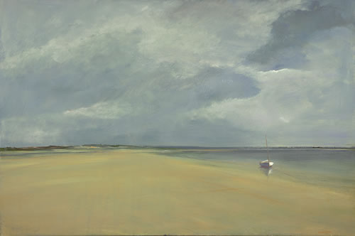 Anne Packard Cape Shore Giclee on Canvas of Beach with White Boat and Gray Sky