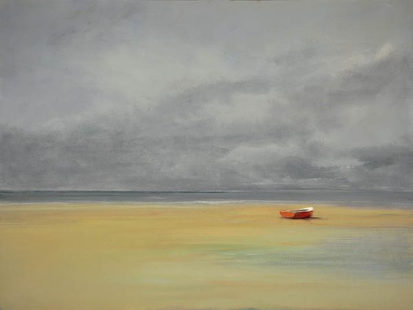 Anne Packard Red Boat Giclee on Canvas of Red Boat on Sandy Beach with Gray Sky