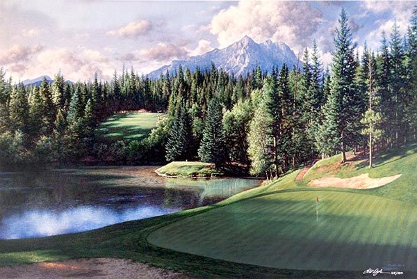 Larry Dyke - 8th at Banff Springs print of golf course with lake and mountain surrounded by trees