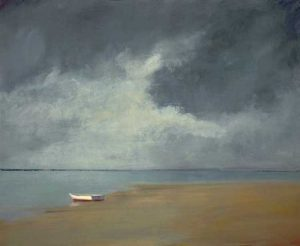 Anne Packard Evening Calm Giclee on Canvas of Storm Cloud Sky on Beach