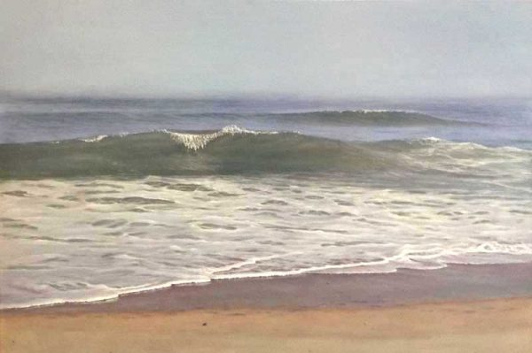 Antonia Tyz Peeples Traditional Realistic Oil Painting of Ocean Wave Seascape in Blue and Sand