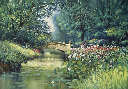 Paul Landry - A Place in the Park Print of bridge over pond with flowers