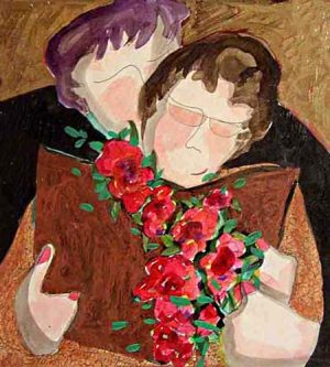 Katherine Porter - A Simple Hello painting of man greeting woman holding book and flowers