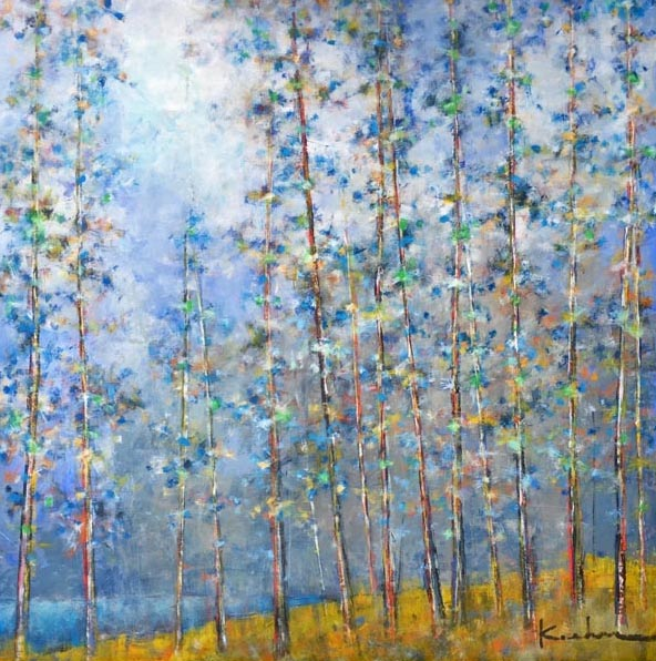 Jeff Koehn Oil Painting with Blue Sky and Green Aspen Birch Trees in Colorado Forest