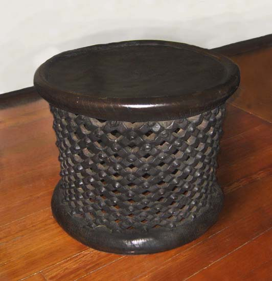 Hand carved round wooden african table
