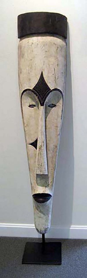 Tall black and white african fang mask floor standing