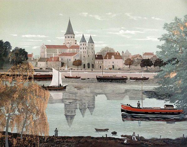 Michel Delacroix - L'Abbey de Paray-Le Monial print of church and river with boats