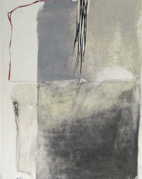 Martine Trouis Abstract painting with gray and white