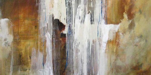 Natasha Barnes contemporary abstract oil painting in white and brown
