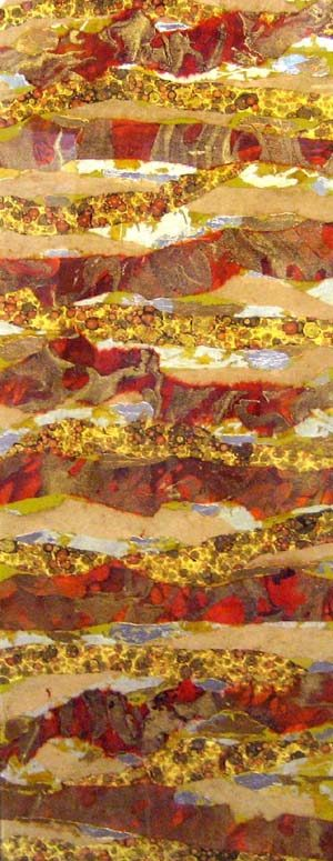 Connie Kolman Mixed Media Paper Collage with Goldleaf on Glass