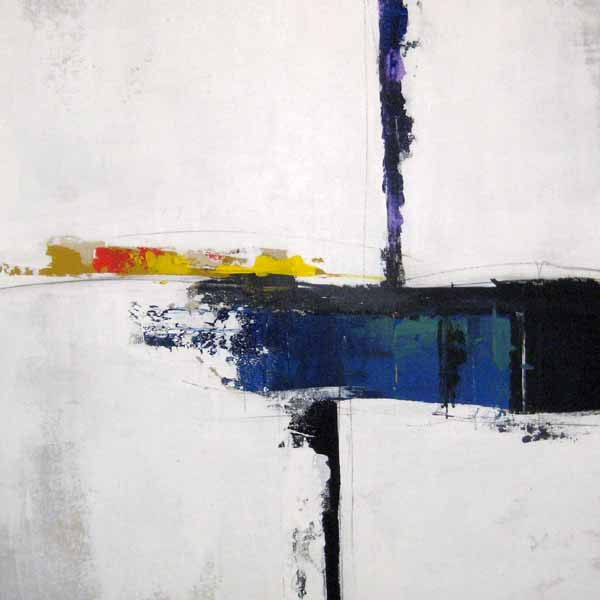 Sydney Edmunds Abstract Oil Painting of Minimal Blue White and Black