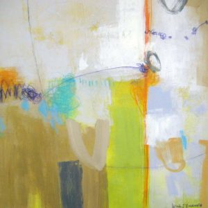 Ursula Brenner Abstract Contemporary Oil Painting with Granny Smith Green and Orange