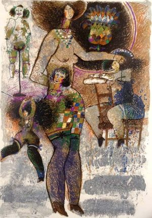 Theo Tobiasse - Accordeon de Chair et Rire judaica print whimsical figures