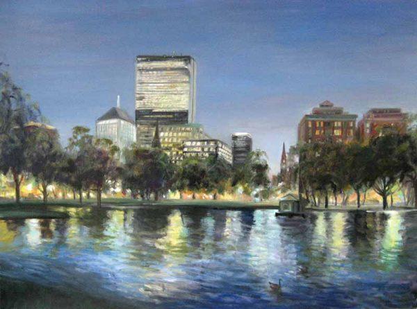 Celia Judge Across the Lagoon - Boston Common (30x40 oil painting on canvas)