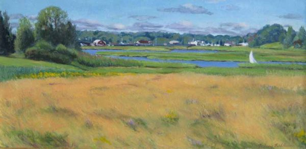 Hilary Baldwin Traditional Oil Painting of a yellow field with a view of a river and trees