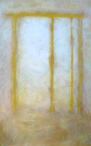 abstract painting with glowing white background and descending yellow lines