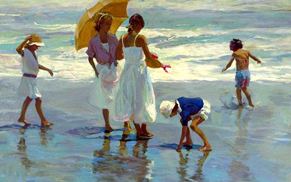 Don Hatfield - Afternoon Reflections print of two women and three children playing at the water's edge