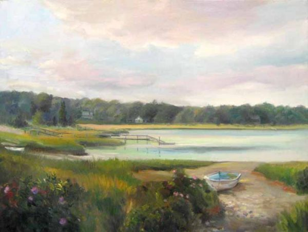 Celia Judge oil painting of landscape with pink sky and green marsh