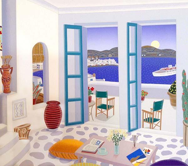 Thomas McKnight - Aegean Paradise print of apartment overlooking ocean in Greece