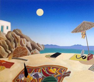 Thomas McKnight - Agrari Beach print of picnic on sand in Greece